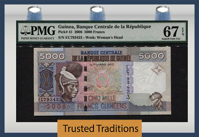 Tt Pk 41 2006 Guinea 5000 Francs Pmg 67 Epq Superb Gem Unc Pop One Finest Known!