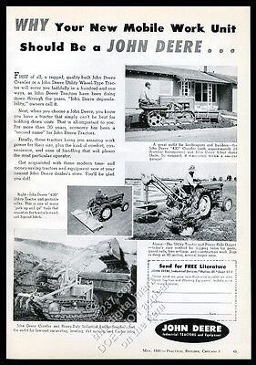 1956 John Deere 420 crawler and wheel farm tractor photo vintage trade print ad