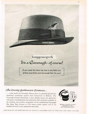 "1959 CAVANAGH Hats ""Country Gentleman"" Hat of BOBBY JONES Golfer VTG PRINT AD"