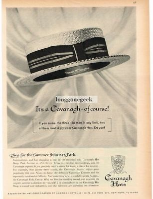 1959 CAVANAGH Hats Straw Boater Hat of Donald W. Douglas VTG PRINT AD