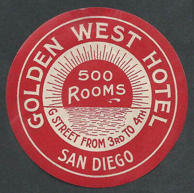 Golden West Hotel SAN DIEGO California - vintage luggage label