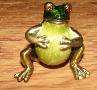 Pewter Frog Trinket, Treasure Box (Red Eyes) Baked Enamel Finish