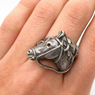 Antique 925 Sterling Silver Horse Wide Ring Size 9.5