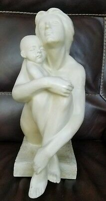 Vintage Art Sculpture Mother Holding Baby Nude Sitting Statue Figurine
