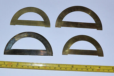 4 x small brass protractors for etui / drawing instrument