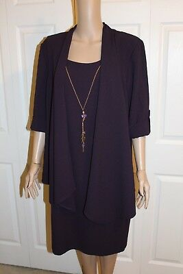 """""""r&m Richards"""" Dress - Wedding, Occasion - Purple, Attached Necklace - Size 14"""