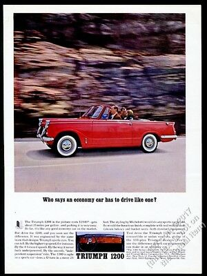 1962 Triumph 1200 convertible red car photo vintage print ad
