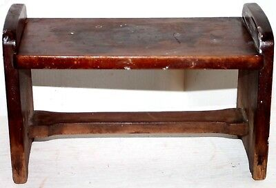 Antique Carved Wood Hand Made Primitive Step Stool / Foot Stool.
