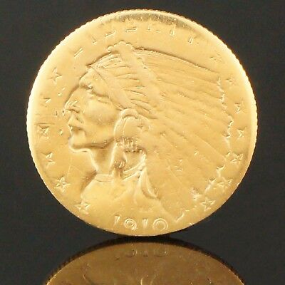 1910 US Indian Head Gold Eagle $2 1/2 Dollar Solid Fine Gold Coin, No Reserve!