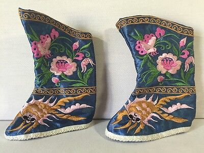 Chinese Asian Antique Embroidered Silk Childs Festival Booties Shoes Ceremonial