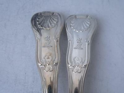 Pair of Antique Georgian Crested Hourglass Solid Silver Table Spoons 1821/ 220g