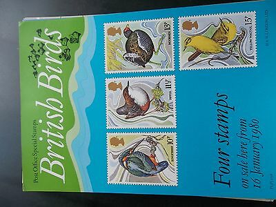 Royal Mail A4 Post Office Poster 1980 Birds Kingfisher Yellow Wagtail Dipper