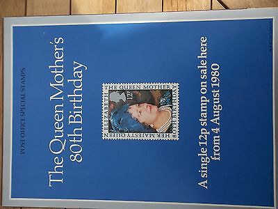 Royal Mail A4 Post Office Poster 1980 Queen Mothers 60Th Birthday