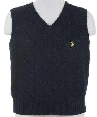 New Polo Ralph Lauren Boys Navy Blue Sweater Vest 7 Yellow Pony Cable Knit