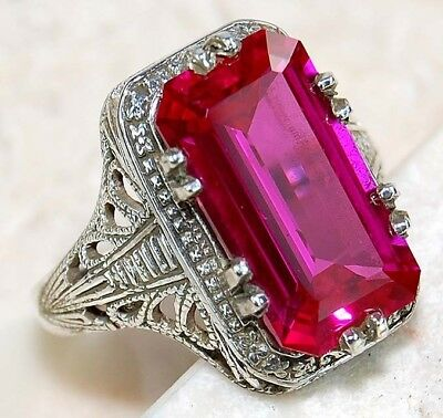 8CT Ruby 925 Solid Genuine Sterling Silver Filigree Ring Jewelry Sz 7