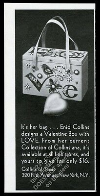 1969 Enid Collins Valentine Love box purse handbag photo vintage print ad