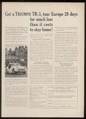 1960 Triumph TR-3 TR3 car photo tour of Europe vintage print ad