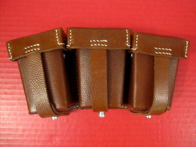 WWI German Brown Leather 3-Cell Mauser Ammo Belt Pouch - Dated 1916 - Repro