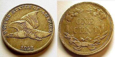 X/f+ 1858 Flying Eagle Cent-Lg Letters-Attractive Color & Eye Appeal! Free Ship!