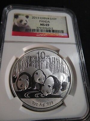 W94 China PRC 2013 Silver 1Oz. Panda 10 Yuan NGC MS-69