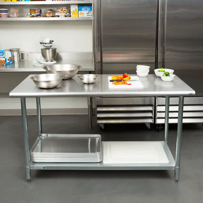 "NEW!! 30"" x 60"" Stainless Steel Work Prep Table Adjustable Undershelf Restaurant"