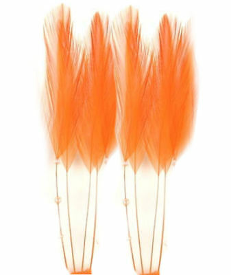 Orange Stripped Hackle Coque Feathers Sewing Costuming Fascinators Hats (8)