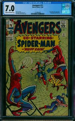 Avengers # 11  Co-Starring Spider-Man ; Kang appears !  CGC 7.0 scarce book !