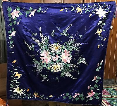 """Antique Chinese Garden Sceane Wall Hanging Hand Embroidery On Silk 45""""x 46"""""""