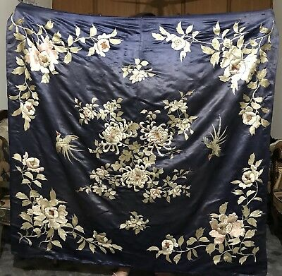 """ANTIQUE 19th QING DYNASTY CHINESE EMBROIDERED SILK PANEL WALL HANGING 62"""" By 63"""""""