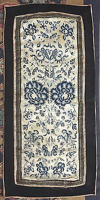 """Antique Chinese Hand Embroidery Sleeve Band Scenery Penal 11"""" By 22"""""""