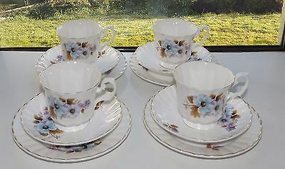 Staffordshire Fine English China Blue Daisies 4 x  Trio Cup Saucer Plate