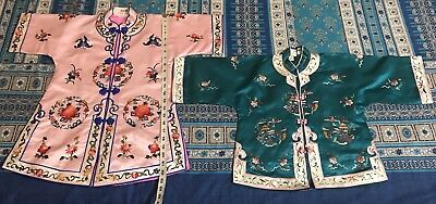 2 Antique Chinese Hand Embroidered Robe Good Condition Small For Children