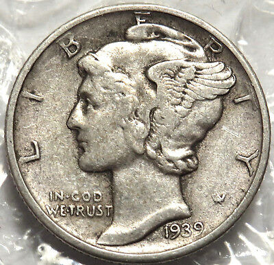 1939-D Mercury Silver Dime. Very Fine Coin. Strong Date & Mm. #411