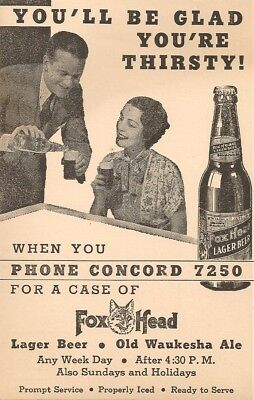 Postcard - Foxhead Lager Beer , Old Waukesha Ale , Milwaukee , Wisconsin