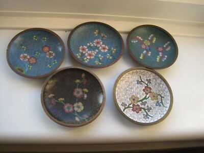 Five Attractive Chinese Cloisonne Pin Dishes, 3.75 Inches Diameter