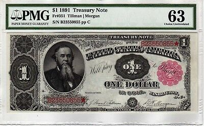 Fr.351 $1 1891 TREASURY NOTE PMG CHOICE UNCIRCULATED 63