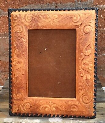 Vintage Tooled Leather Picture Photo Frame Large Western Southwest
