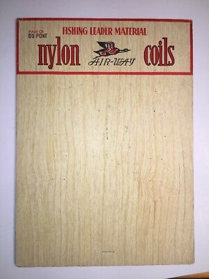 Du Pont Nylon Fishing Leader Coils Cardboard Display Sign Geese Logo Vintage
