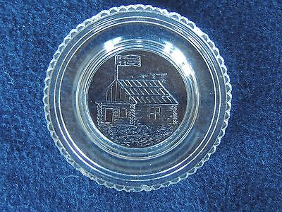 "Antique Lacy Sandwich Glass Cup Plate Log Cabin Flag 3"" original historical"