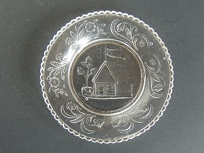 "Antique Lacy Sandwich Glass Cup Plate Log Cabin Flag 3.25"" original historical"