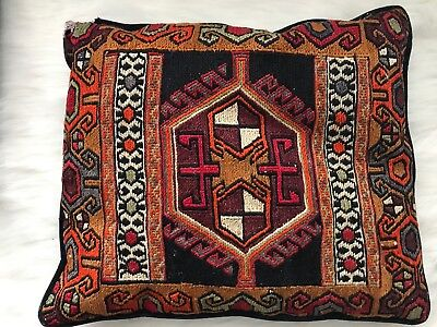 "VINTAGE Boho Primitive Aztec Tribal Throw Rug Pillow Hand Hooked 18"" x 15"""