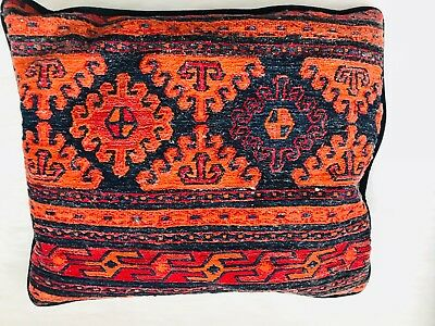 "VINTAGE Boho Primitive Aztec Tribal Throw Rug Pillow Hand Hooked 17.6"" x 15"""