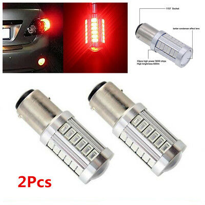 2X 12V 1157 BAY15D 5630 Car Tail Stop Brake Light 33-SMD LED Bulb Reverse Light
