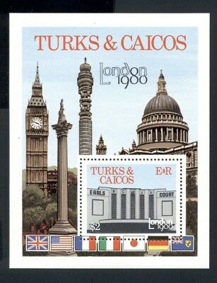 Turks & Caicos Islands Scott #433 MNH S/S London Int'l Stamp EXPO 1980 $$
