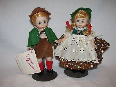 "2 Vintage 8"" Madame Alexander Tyrolean Dolls Marked ALEX Bent Knee"