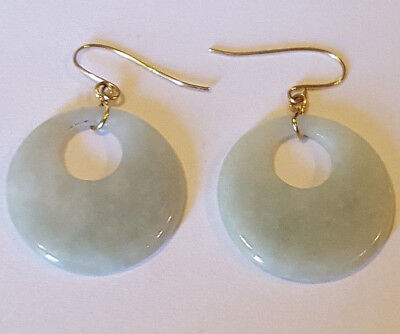 Vintage Chinese 14k Moss Green Jade Earrings  4 grams