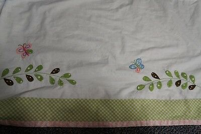 Girls Nursery POTTERY BARN KIDS Crib Skirt Butterfly Green Pink Gingham