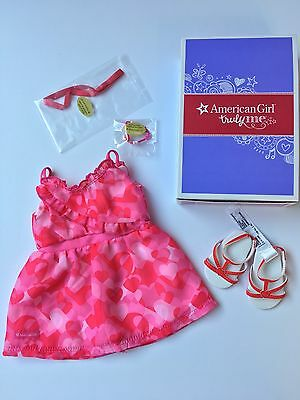 """* AMERICAN GIRL 18"""" OUTFIT Red Hearts Ruffle Dress Shoes for Doll - NEW IN BOX"""
