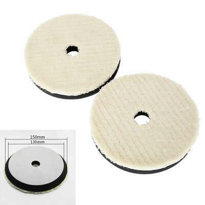 """2Pcs Car Care Woolen Polishing Pad 6"""" 18mm Thickness Cleaning Waxing Buffing Kit"""