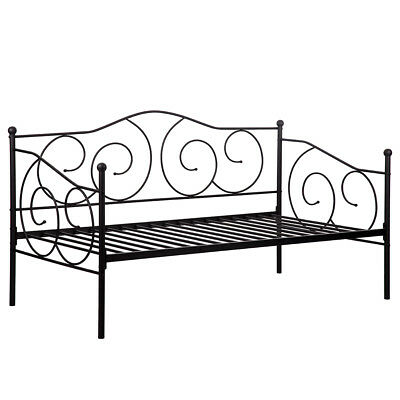 New Twin Size Daybed Metal Scrolled Day Bed Pewter Guest Room Kids Bed Frame